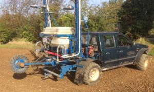 Ford Ranger pick-up converted to field machine with Horstine Avadex spreader on back